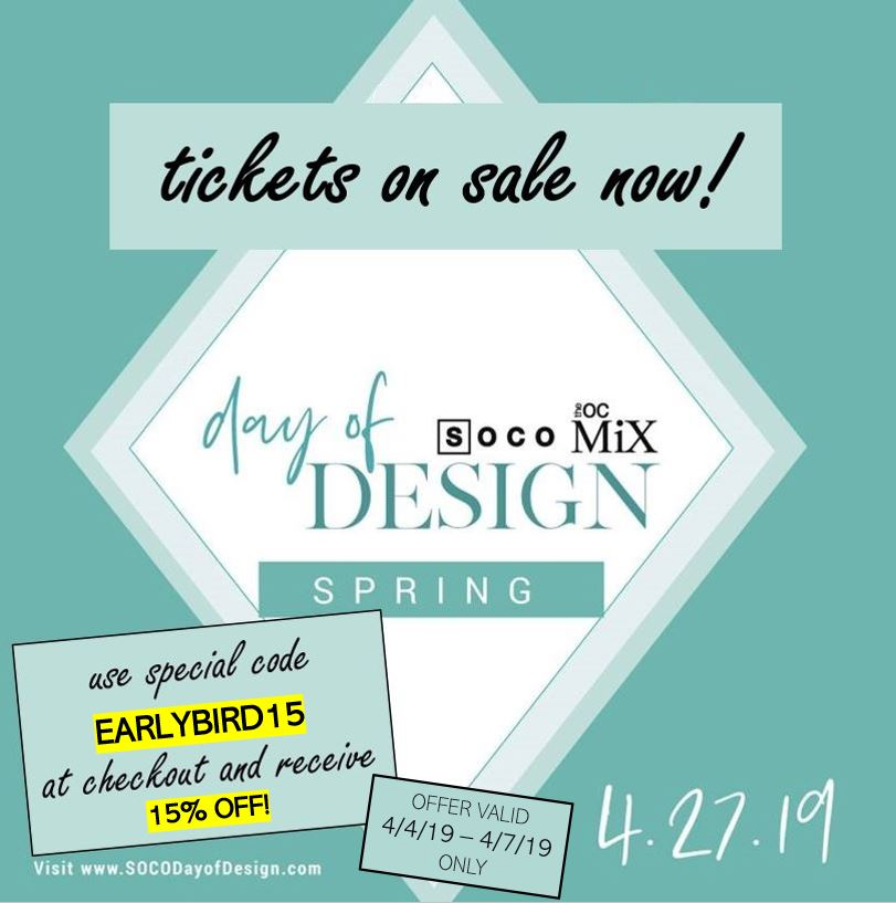 This Weekend Only! Save 15% on tickets to Day of Design